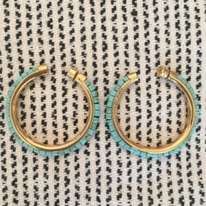 Michael Kors Turquoise and Gold Hoop Earrings